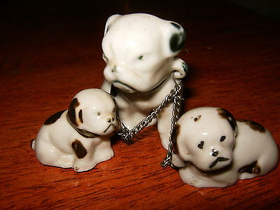 Vintage set of porcelain English bulldogs, Mother with Puppies on chain