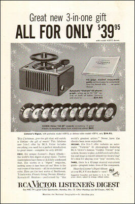 1950s vintage AD RCA Victor Victrola 45 Phonograph & 10 45 EP Records  092517