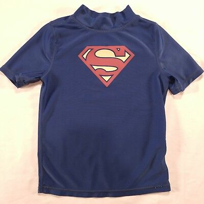 "8a67824e Boys DC Comics ""SUPERMAN"" Compression Blue Toddler 5T Short Sleeve Shirt"