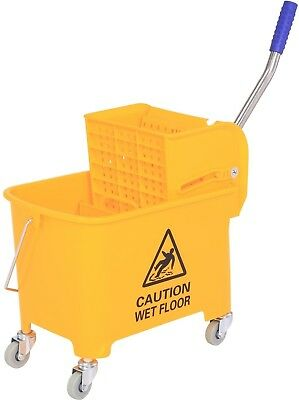 HomCom 5 Gallon Janitor Mop Bucket W/ Down Press Wringer - Yellow
