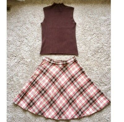 Vintage Antique Red Plaid Pleated A-Line Skirt 1960s 60s Retro