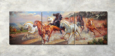 "3Parts Home Wall Decor 16x16"" Running horse Art Printed Painting on Canvas 987"