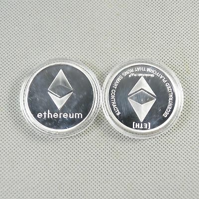 Ethereum physical Collectible Coin Crypto Commemorative Lite Coin Silver Plated