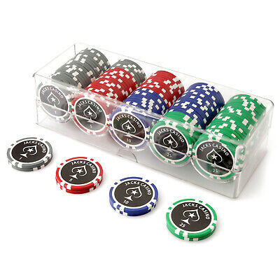 100 Chip Jacks Casino Poker Set Clear Acrylic Rack Cover 11.5g Chips New Sealed