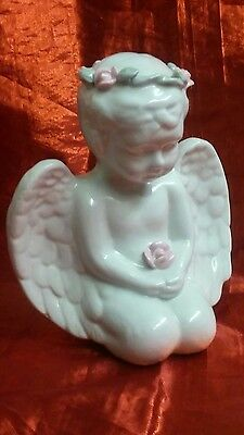 Shiny White Porcelain Angel with Flower Tiara Holding Rose Figurine 5 3/4 inches