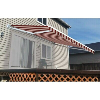 ALEKO Retractable Patio Awning 12 X 10 Ft Deck Sunshade Multistripe Red Color