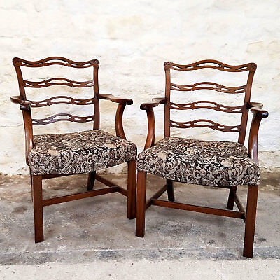 George III Style Pair of Mahogany Ladderback Open Armchairs C1910 (Georgian)