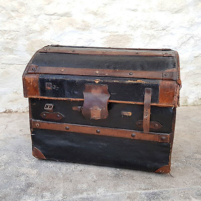 Antique Dome Top Leather Wooden Bound Travel Steamer Trunk - C1900 (Chest)