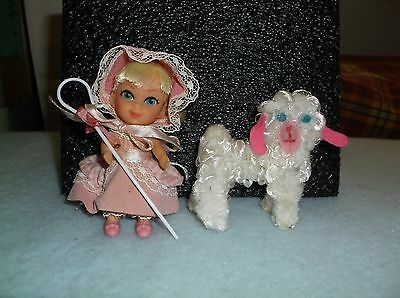 Vintage Mattel Liddle Kiddle Biddle Peep Doll With Sheep & Staff Very Good