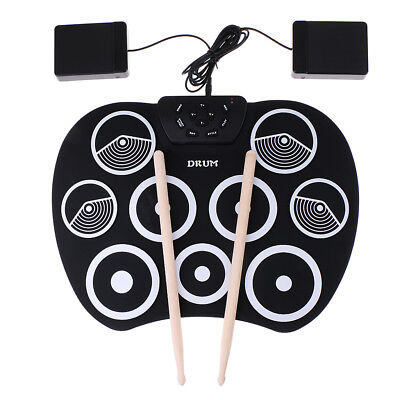 Portable Foldable Electronic Drum Roll Up Drum 9 Silicone Pad with Drumstick