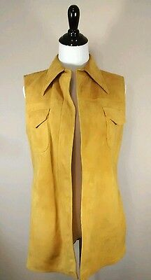 Vintage Mod Suede Leather Wool Tan Womens Open Vest 1960s 1970s