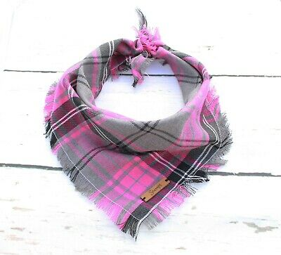 Buffalo Pink Frayed Plaid Puppy Dog Bandana - Tie on Classic Scarf-Small-Large