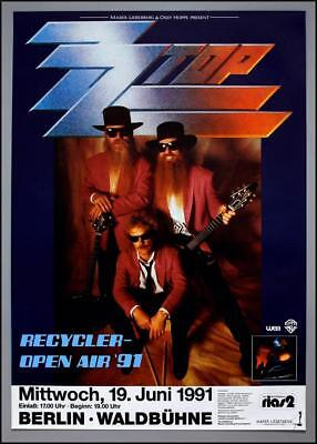 ZZ TOP - rare vintage original Berlin (Germany) 1991 RECYCLER concert poster
