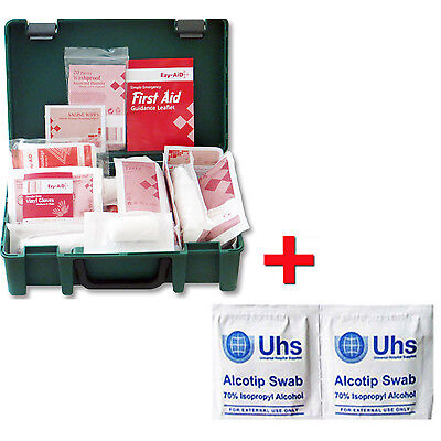 1-10 Person HSE First Aid Workplace Kit + FREE 20x Isopropyl Disinfectant Swabs