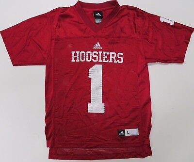 Adidas University of Indiana Hoosiers Football Jersey Youth Large 14-16 Red   1 da41621f8