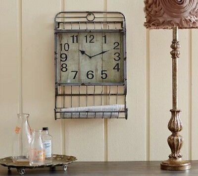 """Large Wall Clock French Vintage Style Iron Metal Cage Hanging Basket 13"""" X 20"""""""