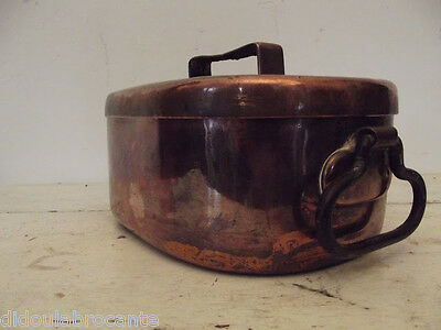 antique small daubiere pan copper tinned mounted in tail ofdovetail XIXem