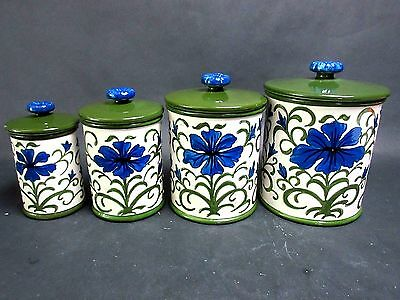 Vtg Set 4 Canisters Lids Metlox Poppy Trail Blue Iris Floral Collectible