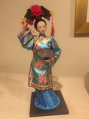 "Traditional Chinese Art Silk Figurine Doll Statue 12.5"" NIB"