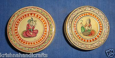 Antique Old Look Mughal Islamic Fine King & Queen Painted Camel Bone Box Pair