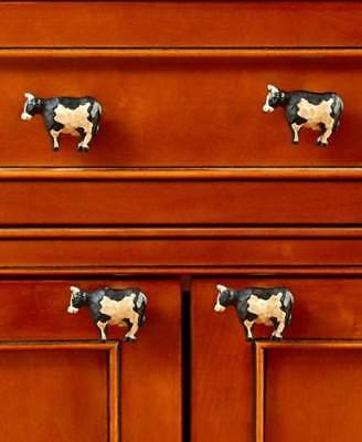 Set of 4 Cow Drawer Pull Knob Country Farmhouse Barnyard Animal Kitchen