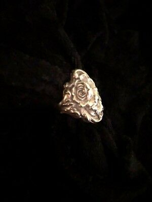 Vintage S Kirk and Son Ring Repousse Floral Sterling Silver Size Ladies 5 1/2