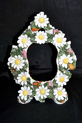 Mid Century Italy Porcelain Sculptural Daisy Picture Table Top Frame NICE RARE