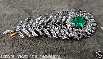 Victorian Vintage 2.77Cts Rose Cut Diamond Feather Jewelry Emerald Brooch Pin