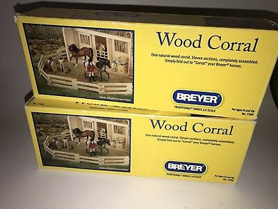 BREYER 2012 Traditional Fences WOOD CORRAL 1:9 Scale In Boxes LOT of 2 No. 7500