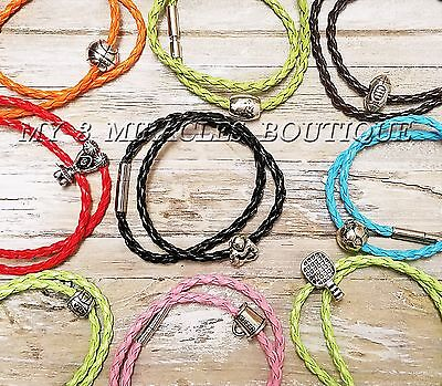 SPORTS BRACELET Double Wrap Braided Leather Surfer Teens Boys Gift U PICK COLOR