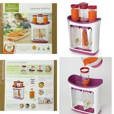 Infantino Fresh Squeezed Squeeze Station Baby Food Maker Storage Feeding Pouches
