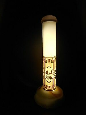 An Art Deco Tower Lamp With Alacite Base And Cap