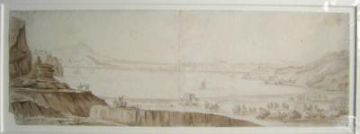 Landscape An Extensive Italian Lake Vista Eng School  Mono Watercolour C1810