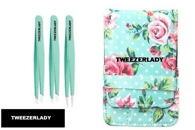 NEW-  TWEEZERLADY  Stainless Steel 3 Piece Tweezers Set