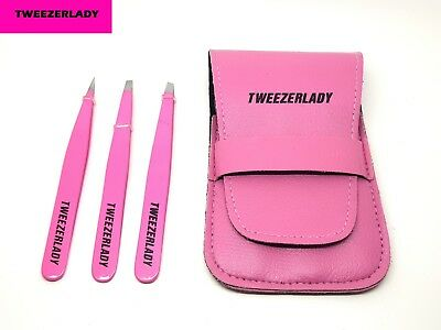 NEW-  TWEEZERLADY  Stainless Steel 3 Piece Tweezers Set  -Pink set