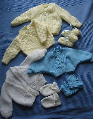 Handmade Knitted Newborn Bundle cardigans booties mittens