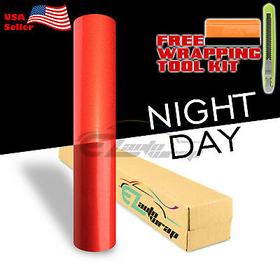 "*48""x72"" Reflective Red Vinyl Wrap Sticker Decal Graphic Sign Car Adhesive Film"
