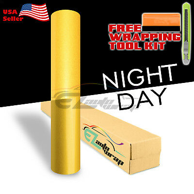 """*48""""x48"""" Reflective Yellow Vinyl Wrap Sticker Decal Graphic Sign Adhesive Film"""