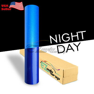 """4""""x8"""" Sample Reflective Blue Vinyl Wrap Sticker Decal Graphic Sign Adhesive Film"""