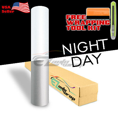 "*48""x84"" Reflective White Vinyl Wrap Sticker Decal Graphic Sign Adhesive Film"