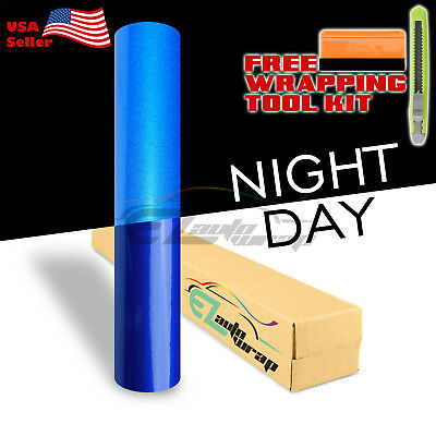 "*48""x60"" Reflective Blue Vinyl Wrap Sticker Decal Graphic Sign Car Adhesive Film"