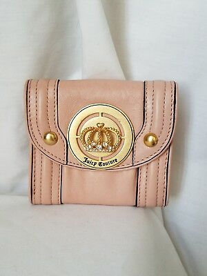 Authentic Juicy Couture Peachy-Pink Leather Wallet w/Gold, crystal Juicy crown