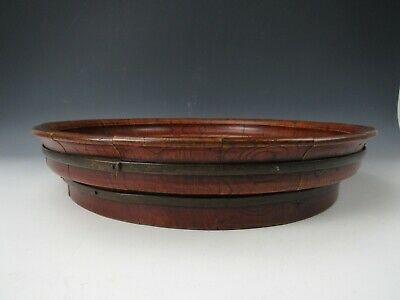 A Chinese Antique Pretty Elm Wood Basin w/ Brass Bands