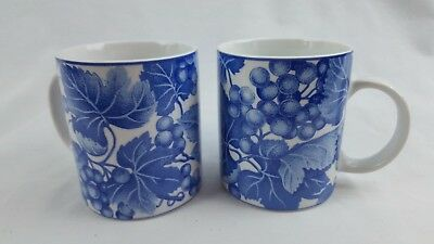 1995 Fitz and Floyd Omnibus BORDEAUX Cup Mug SET White and Blue Grapes Leaves