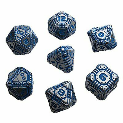 Metal & blue Tech Dice Set (7)