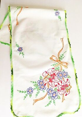 Vintage Hand Embroidered Tiger Lilly Table Runner with Crochet Lace Edging