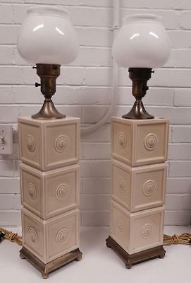 Pair of 2 Rookwood Pottery 1950 Mid-Century Ceramic Lamps Mold 7006 w/ Diffusers