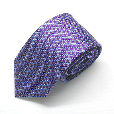 NWT Battisti Napoli Tie in Purple and Blue Geometric Pattern Made in Italy