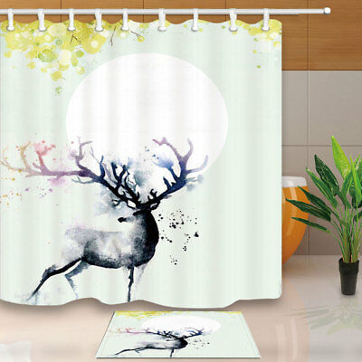 Ink Painting Cute Deer Shower Curtain Set 71 Inch Bathroom Waterproof Fabric