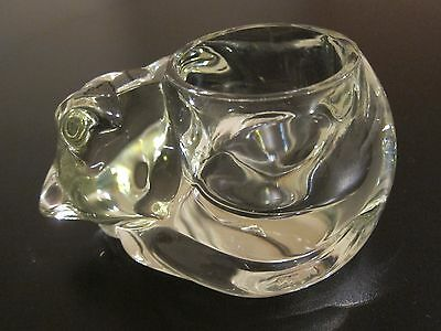 Avon Clear Glass Sleeping Cat Candle Holder